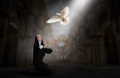 Nonne, église, paix, espoir, amour, religion, christianisme illustration stock