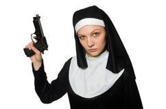 Nonne mit Pistole Lizenzfreie Stockfotos