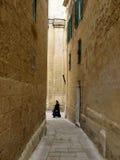 Nonne und alte Wände. Stockfotografie