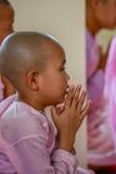 Nonnen die in roze robes voor het Beeld van Boedha scanderen stock fotografie