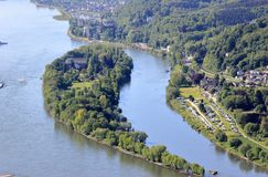 Aerial view of Nonnenwerth Island near Bonn, Germany. royalty free stock images