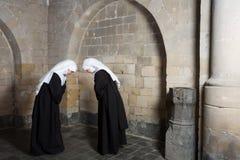 Nonnes saluant photographie stock libre de droits