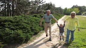 Nonni che alzano il ragazzo del bambino all'aperto video d archivio