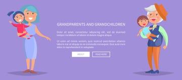 Nonni e manifesto dei nipoti con la famiglia Fotografie Stock
