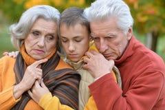nonni e nipote in parco Immagine Stock Libera da Diritti