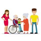 Nonni felici con i loro bambini e nipote Fotografia Stock