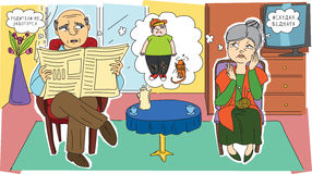 Nonni tristi ed il loro nipote Immagine Stock