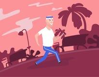 Nonno dai capelli grigi agli abiti sportivi che corre al parco illustrazione di stock