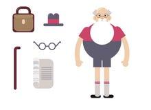 Nonno del carattere di Oktoberfest Nonno con un vetro di birra, costumi pieghi manifesto Illustrazione piana di progettazione Fotografia Stock