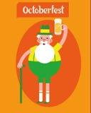 Nonno del carattere di Oktoberfest Nonno con un vetro di birra, costumi pieghi manifesto Illustrazione piana di vettore di proget Fotografia Stock Libera da Diritti