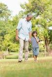 Nonno e figlio che camminano sull'erba in parco Fotografie Stock Libere da Diritti