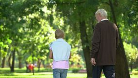 Nonno e nipote che camminano nel parco, discutendo le edizioni degli uomini, dividenti i segreti video d archivio