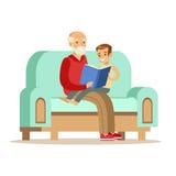 Nonno e ragazzo che leggono un libro, parte dei nonni divertendosi con la serie dei nipoti illustrazione vettoriale