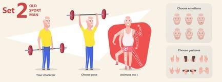 Nonno felice che fa allenamento di esercizio con la testa di legno illustrazione vettoriale