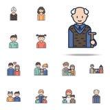 nonno nell'icona del fumetto del lavoro Insieme universale delle icone della famiglia per il web ed il cellulare illustrazione vettoriale