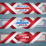 Nono agosto, dia nacional da república de Singapura, bandeiras da Web ilustração royalty free