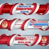 Nono agosto, Singapura, feriado nacional, bandeiras da Web ilustração royalty free