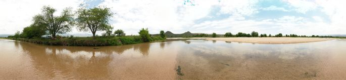 360 degree panoramic view at the Rio de los Sauces river stock photo