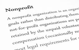 Nonprofit in Business. Meaning of the word Nonprofit Stock Photo