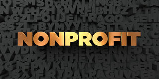 Free Nonprofit - Gold Text On Black Background - 3D Rendered Royalty Free Stock Picture Royalty Free Stock Photo - 87918875