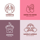 Nonprofit and volunteer organization, charity, philanthropy concept vector logo set Stock Photos