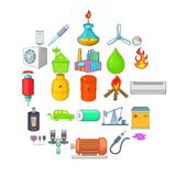 Nonrenewable energy icons set, cartoon style. Nonrenewable energy icons set. Cartoon set of 25 nonrenewable energy vector icons for web isolated on white Vector Illustration