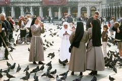 Nons na San Marco kwadrata karmie Zdjęcie Royalty Free