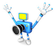 Nonsense blue Camera Character stretched out both hands. Create Stock Images
