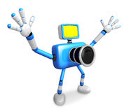 Nonsense blue Camera Character stretched out both hands. Create Royalty Free Stock Photos
