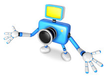 Nonsense blue Camera Character stretched out both hands. Create Royalty Free Stock Photo