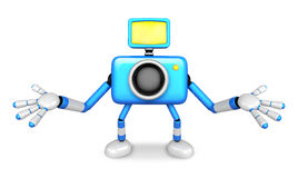 Nonsense blue Camera Character stretched out both hands. Create Stock Photo