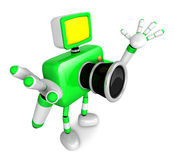 Nonsense Green Camera Character stretched out both hands. Create Royalty Free Stock Images