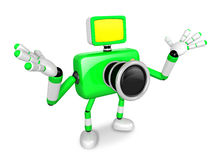 Nonsense Green Camera Character stretched out both hands. Create Royalty Free Stock Photo
