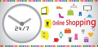 Nonstop online shopping concept. Online shopping is fun and can be done 24/7 using computer or phone Stock Image