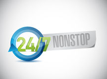 24 7 nonstop sign illustration design. Over a white background Royalty Free Stock Images