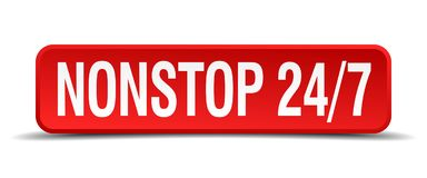 Nonstop 24 7 button. Nonstop 24 7 square 3d realistic isolated web button. nonstop 24 7 Stock Photography