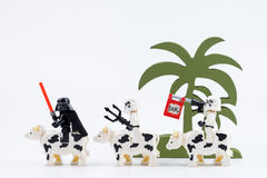 Nonthabure, Thailand - Mei, 17, 2017: Lego Darth Vader en Lego Royalty-vrije Stock Afbeeldingen