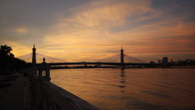 Nonthaburi bridge with sunset. In evening in Nonthanuri Thailand stock video