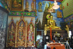Nonthaburi buakwan Tailandia del wat budista del edificio de la penetración de la estatua de Buda fotos de archivo libres de regalías