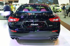 NONTHABURI - 1º DE DEZEMBRO: Exposição do carro de Maserati Ghibli em Tailândia Imagem de Stock Royalty Free