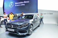 NONTHABURI - 1º DE DEZEMBRO: Exposição nova a do carro da C-classe de Mercedes BenZ Foto de Stock Royalty Free