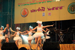 Singer and dancers perform Thai traditional musical Stock Image