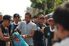 Nonthaburi - DEC 6 2017 : On the way of Thai celebrity rocker `Toon Bodyslam` takes on 55-day running marathon to raise money for. Public hospitals, 2,191-km Stock Photo