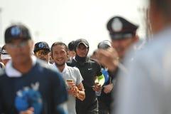 Nonthaburi - DEC 6 2017 : On the way of Thai celebrity rocker `Toon Bodyslam` takes on 55-day running marathon to raise money for. Public hospitals, 2,191-km Stock Images