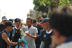 Nonthaburi - DEC 6 2017 : On the way of Thai celebrity rocker `Toon Bodyslam` takes on 55-day running marathon to raise money for. Public hospitals, 2,191-km Royalty Free Stock Photo