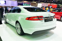 NONTHABURI - DECEMBER 1: Jaguar XF car display Stock Image