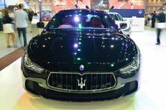 NONTHABURI - DECEMBER 1: Maserati Ghibli bilskärm på Thailand Royaltyfria Bilder
