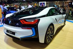 NONTHABURI - DECEMBER 1: New BMW I8 Sports car display at Thaila Royalty Free Stock Image