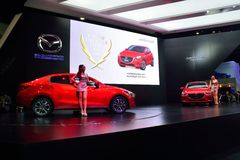 NONTHABURI - DECEMBER 1: New Mazda 2 Skyactiv car display at Tha Stock Photos