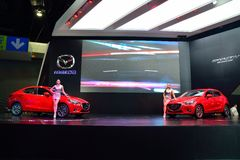 NONTHABURI - DECEMBER 1: New Mazda 2 Skyactiv car display at Tha Royalty Free Stock Photos